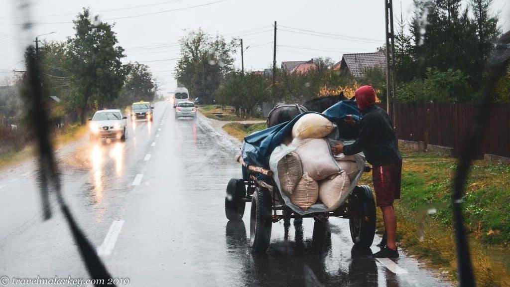 Horse drawn cart in rain Romania