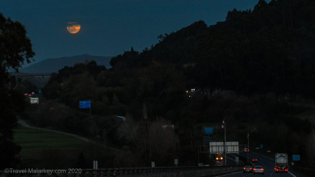 Blood Moon on road to Islares