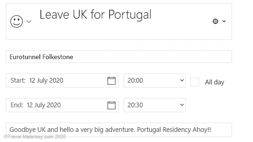 Calendar Excerpt Departure Date for Portugal