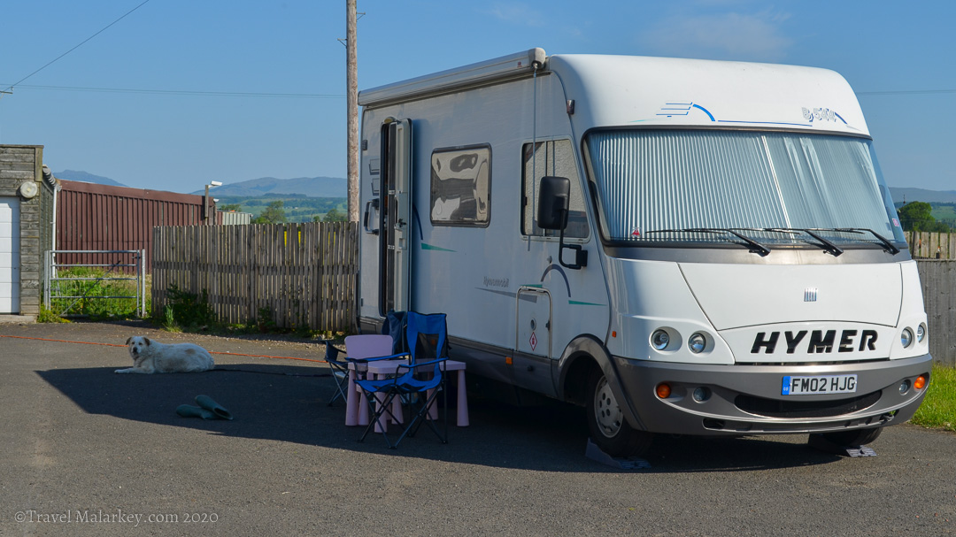 Hymer B544 and Greek Shepherd Dog in Scotland